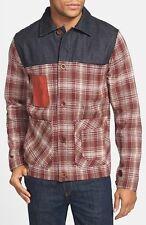 Mens Marshall Artist Wool Plaid Coat Jacket Brown Jean Denim Pocket XL Button Up
