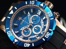 New Invicta Mens 50mm L.E JT Pro Diver Chronograph 18K Rose Gold Blue Dial Watch