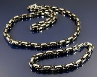 STAINLESS STEEL NECKLACE AND BRACELET SET QUALITY BLACK & SILVER BYZANTINE CHAIN