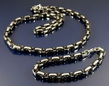 STAINLESS STEEL NECKLACE AND BRACELET SET BLACK AND SILVER BYZANTINE CHAIN