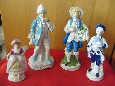 4 VINTAGE CONTINENTAL PORCELAIN CHINA PERIOD STYLE FIGURINES