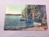 Lowell Mass View of Lake at Lake View Vintage Hand Colored Postcard Posted 1912