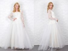 Vintage 50s tulle lace floral Sheer long sleeve Wedding bridal gown formal full