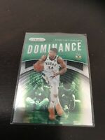 Panini Prizm Green Dominance Giannis Antetokounmpo Base Insert Bucks MVP