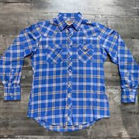 Vintage 70s Youngbloods Flannel Western Shirt Mens M Blue Plaid Pearl Snap