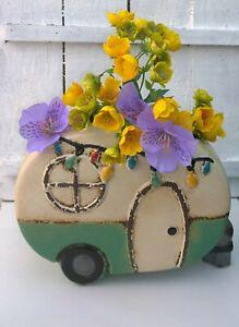 Caravan Planter Glazed Ceramic Indoor Flower Pot Gift Vintage Festival Style