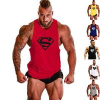 Men Gym Superman Cotton Bodybuilding Singlet Fitness Sport Workout Tank Top Vest