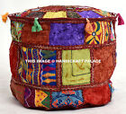 Indian Ottoman Designer Round Pouf Cover Embroidered Patchwork vintage Pouffe