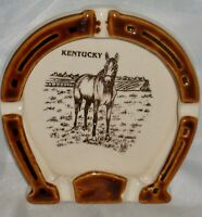 Vintage Tourism KENTUCKY HORSESHOE ASHTRAY Thoroughbred/Standardbred Race Horse