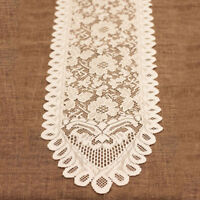 Vintage White Lace Table Runner Dresser Scarf Doily Wedding 13x96inch Pattern