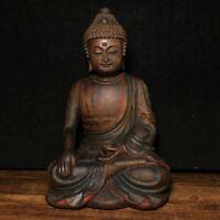 "10"" Chinese old antique Camphor wood handcarved Sakyamuni Buddha statue b2"