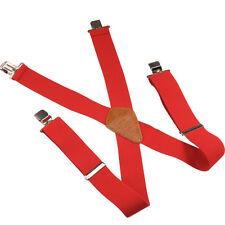 Uomo Vintage Bretelle Elastico Regolabile Larghe con clip Rosso