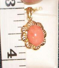 Pink Coral 14K Yellow Gold Pendent Scroll Hawaiian Hawaii Jewelry New