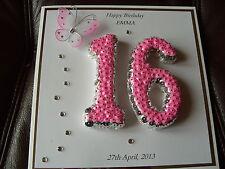 Handmade Personalised 16th, Birthday Card
