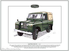 LAND-ROVER Series II - Fine Art Print A4 size - Truck cab soft top - 88 inch SWB