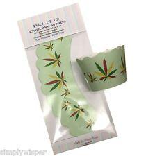 12 Cannabis Foglia Design Cupcake wrapper DECORAZIONE TORTA Wraps