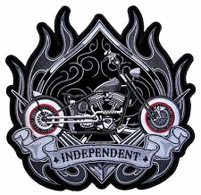 Large Independent Motorcycle Flames Spade Mens Embroidered Biker Patch