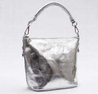 Damen echt Leder Schultertasche Handtasche Made in Italy silber Ledertasche