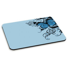 BUTTERFLY LIGHT BLUE PC COMPUTER MOUSE MAT PAD - Floral Flowers Butterflies