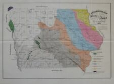 Original 1870 GEOLOGICAL MAP OF IOWA BY C.A. WHITE Railroads Sioux Quartzite