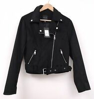 New Look Faux Suede Biker Jacket Size 12 Black NWT £39.99 Goth Emo Grunge (a)