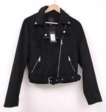 New Look Faux Suede Biker Jacket 12 Black NWT Goth Emo Grunge Autumn