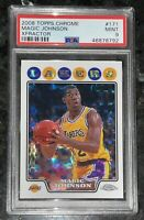🔥POP 2💎2008 Magic Johnson TOPPS CHROME XFRACTOR #171 /288 PSA 9 BGS prizm gold