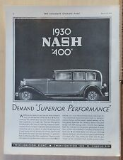 New listing 1930 magazine ad for Nash - Nash 400, Twin Ignition Eight Sedan, Superior