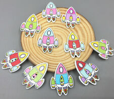 20 Cartoon Rocket Spacecraft Wooden Buttons Sewing Mixed color scrapbooking 32mm