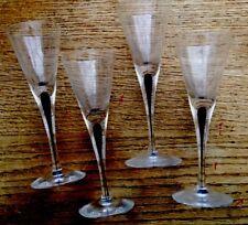 FOUR (4) FANCY STEMMED VINTAGE LIQUOR CORDIAL SHOT GLASSES ELEGANT BLUE DROPBASE