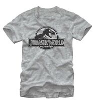 Jurassic World Men's Simple T. Rex Logo Grey Heather T-Shirt New
