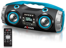 AXESS PBBT2709BL Portable Bluetooth FM Radio/CD/MP3/USB/SD Heavy Bass Boombox