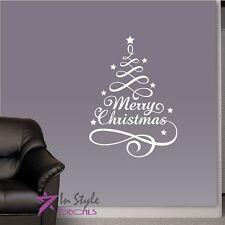 Vinyl Decal Merry Christmas Decoration Christmas Tree Holidays Wall Sticker 155