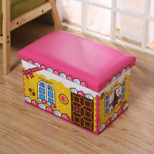 KIDS Storage TOY BOX MULTI PURPOSE Fordable Stool Chest Seat EXTRA STRONG
