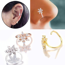 Crystal Flower Nose Ring Cartilage Ear Ring Stud Piercing Jewelry Hoop Tragus