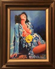 FRAMED Nude Oil Painting        Belinda in a Blue Dress