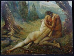 Antik Öl Auf Tafel Unterzeichnet V. Simon? : Mann Und Einer Frau Akt Umschlungen