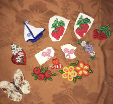 Vintage Lot Of 12 Embroidered Appilques