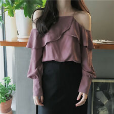 NEW Women's Korean Fashion Off-Shoulder Top Blouse Shirt Purple