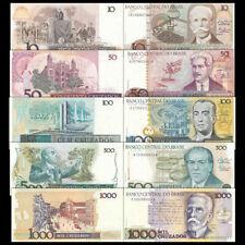 Mazuma *F751 Brazil PrefixA 10,50,100,500,1000 Cruzeir Total 5Pc (Random)Set UNC