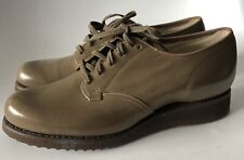 Vintage Mid Century Dr Scholl Walking Shoes Brown Leather Size 5 B Lace Up Wedge