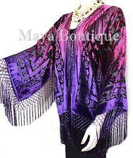 Art to Wear Burnout Velvet Kimono Jacket Hand Dyed Violet Magenta Maya Matazaro