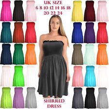Womens Strapless Mini Smoken Sheering Boob Tube Bandeau Top Shirred Summer Dress