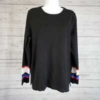 Vince Camuto Womens Sweater Sz Large Black Red Cotton Blend