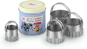 New TALA - 4 Crinkled Stainless Steel Pastry Cutters in a Traditional Tin