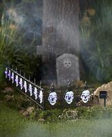 4-Pc. Solar Light Skull Fence Halloween Yard Lawn Art Garden Outdoor Decor