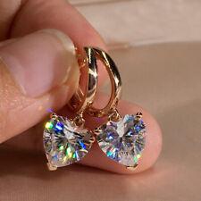 1ct Heart Cut Moissanite 18K Rose Gold Dangle Hoop Earrings Girl's Gift Jewelry