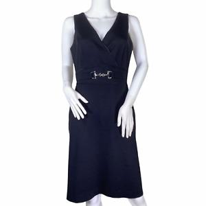 WHBM White House Black Market Surplice V Neck Sleeveless Career Sheath Dress 6
