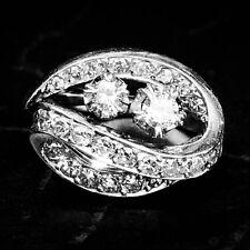 """Diamond Spray 18K White Gold Vintage Retro Moi Et Toi """"You and Me"""" Cocktail Ring"""
