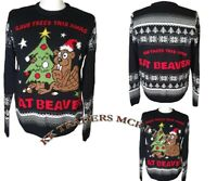 "Xmas Unisex Mens Women's ""EAT BEAVER"" Knitted Christmas Party Jumper Sweater UK"